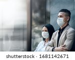 Small photo of Covid-19 or Corona Virus Situation in Business Concept. Business People with Surgical Safety Mask standing at Office Urban Building. Team Employees or Owner Protected and take Care of their Health