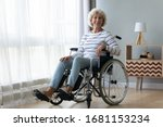 Small photo of Portrait of happy positive handicapped old woman sitting in wheelchair feel optimistic at home or retirement house, smiling senior disabled female in invalid carriage wheel chair look at camera