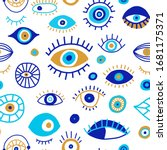 seamless pattern with doodle... | Shutterstock .eps vector #1681175371