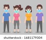 set of people wearing...   Shutterstock .eps vector #1681179304