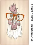 hen or rooster graphic portrait ... | Shutterstock . vector #1681212511