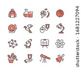 vector icons of school subjects | Shutterstock .eps vector #1681227094