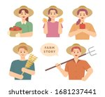 young male and female farmers... | Shutterstock .eps vector #1681237441