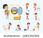 children housework. little kids ... | Shutterstock .eps vector #1681242301