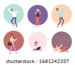 scared people. horrified attack ... | Shutterstock .eps vector #1681242337