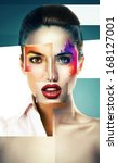 collage of woman with powder on ... | Shutterstock . vector #168127001