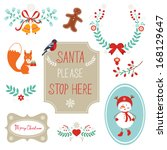 christmas decorative elements | Shutterstock .eps vector #168129647