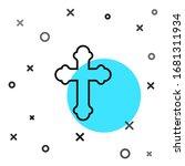 Black Line Christian Cross Ico...