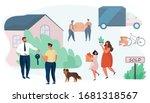family buy house.house for sale.... | Shutterstock .eps vector #1681318567