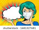 Pop Art Female Face In Medical...