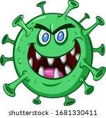 Cartoon Green Evil Virus...