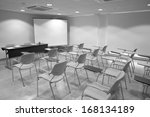 classroom with school chairs... | Shutterstock . vector #168134189