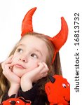 young girl dressed in a devil... | Shutterstock . vector #16813732