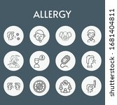 allergy line icon set on theme... | Shutterstock .eps vector #1681404811