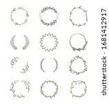 set round floral wreaths.... | Shutterstock .eps vector #1681412917