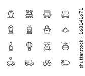 vehicle black icon set on white ... | Shutterstock .eps vector #168141671