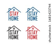 please stay at home. let's stay ... | Shutterstock .eps vector #1681423744