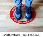 Footprint sign red color with...