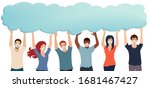 group of multiethnic volunteer... | Shutterstock .eps vector #1681467427