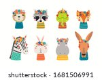 set with cute funny animals in... | Shutterstock .eps vector #1681506991