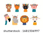 set with cute funny animals in... | Shutterstock .eps vector #1681506997