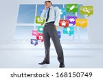 thoughtful businessman with... | Shutterstock . vector #168150749