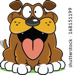 Happy cartoon dog with a big tongue hanging out.  - stock vector
