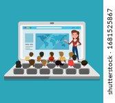 teacher providing a digital...   Shutterstock .eps vector #1681525867