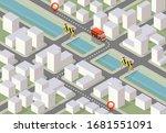 delivery service van and curfew ...   Shutterstock .eps vector #1681551091