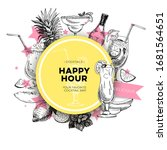 round frame for happy hour... | Shutterstock .eps vector #1681564651