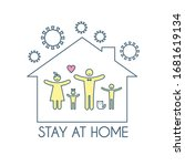 ceep calm and stay at home.... | Shutterstock .eps vector #1681619134