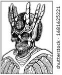 a creepy  scary  bony skull of... | Shutterstock .eps vector #1681625221