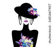 stylized woman with hat and... | Shutterstock .eps vector #1681667407