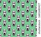 seamless pattern cute panda... | Shutterstock .eps vector #1681680427