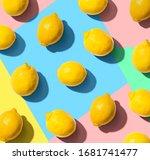 fresh yellow lemons overhead... | Shutterstock . vector #1681741477