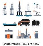 set of oil industry facilities... | Shutterstock .eps vector #1681754557
