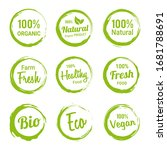 set of green organic labels... | Shutterstock .eps vector #1681788691
