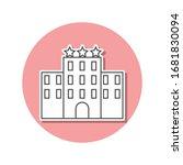 three star hotel sticker icon....