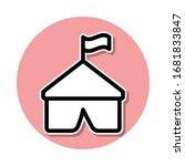 tent sticker icon. simple thin...