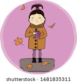 cute autumn girl with a cup of... | Shutterstock .eps vector #1681835311