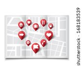 vector illustration of map pins ... | Shutterstock .eps vector #168183539
