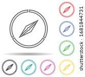 compass multi color set icon....