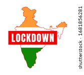 india flag map lock down vector ... | Shutterstock .eps vector #1681856281