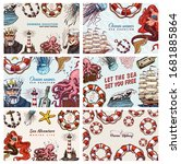 sea posters set. nautical... | Shutterstock .eps vector #1681885864