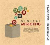 digital marketing over pattern  ...   Shutterstock .eps vector #168190961