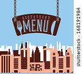 menu design over blue...   Shutterstock .eps vector #168191984