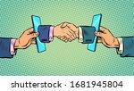 handshake deal business online... | Shutterstock .eps vector #1681945804