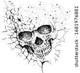 cracked skull in white... | Shutterstock .eps vector #1681976881