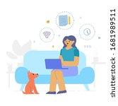 flat style design. freelancer... | Shutterstock .eps vector #1681989511