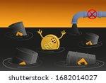 rupee sinks in petroleum. coin... | Shutterstock .eps vector #1682014027